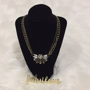 Brass bling link necklace